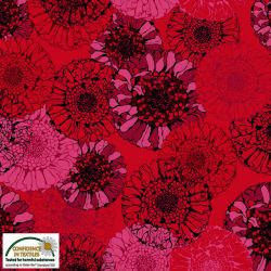 Viscose mandala flowers rouge