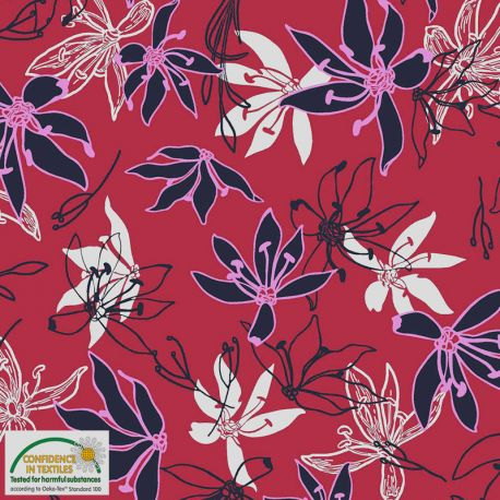 Jersey viscose tropical rouge