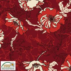 Jersey viscose fleurs rouge