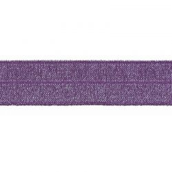 Biais élastique préplié scintillant violet-20mm