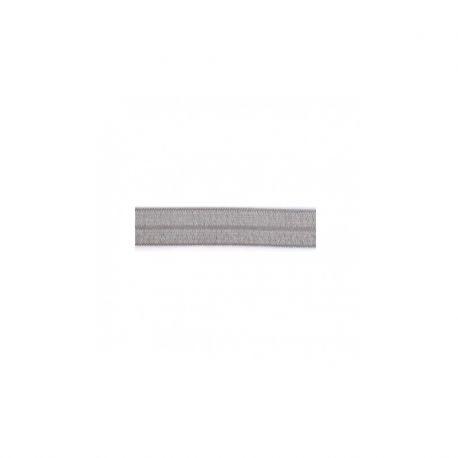 Biais élastique préplié brillant gris-15mm