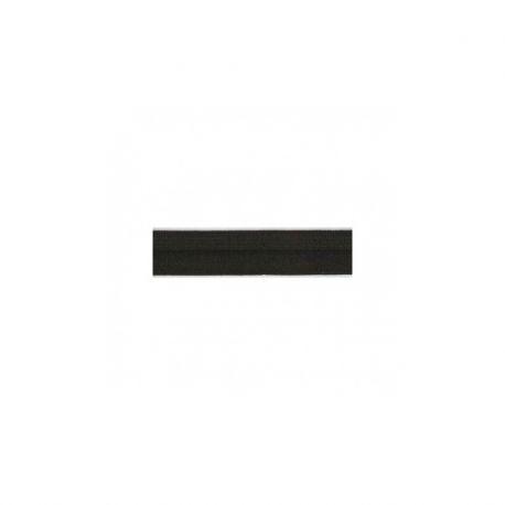 Biais élastique préplié brillant noir-15mm