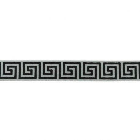 Élastique 25mm géométrique gris
