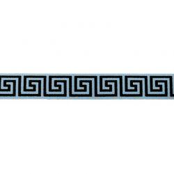 Élastique 25mm géométrique bleu ancien