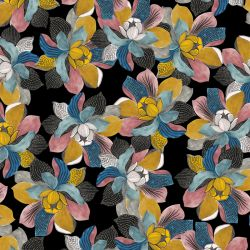 Jersey viscose abstract magnolia noir