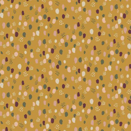 Jersey glitter dots ocre