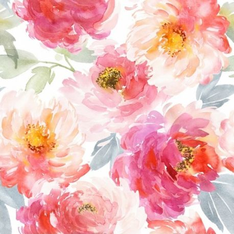Popeline fleurs impressionistes
