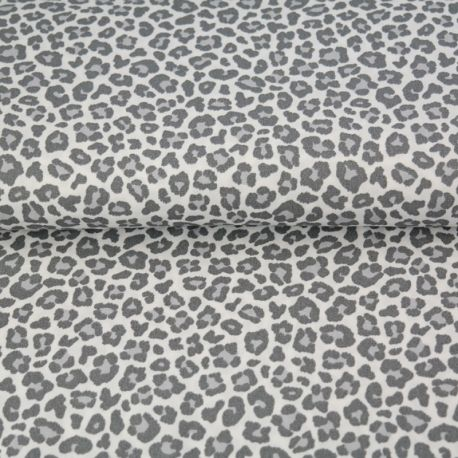 Popeline léopard gris