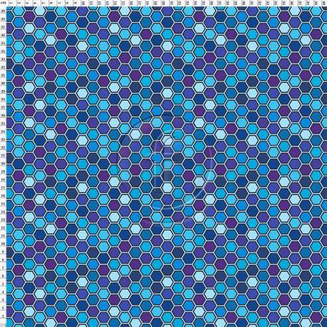 Microfibre polyester hexagrid bleu