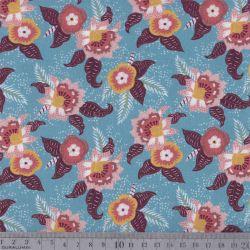 Coton bio kauai fleurs bleu