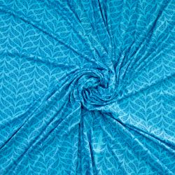 Jersey viscose leafs turquoise