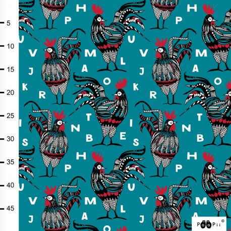 Jersey bio rooster pétrole/rouge