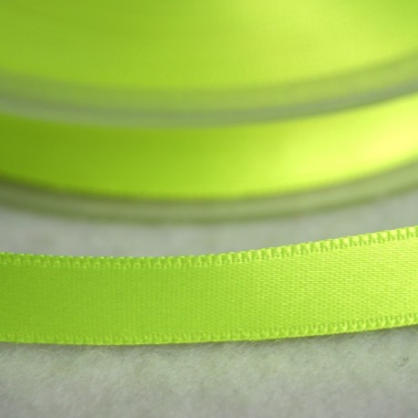 Ruban satin 6 mm jaune fluo