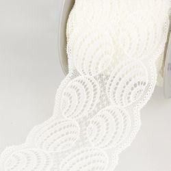 Dentelle élastique 100 mm ballons ivoire