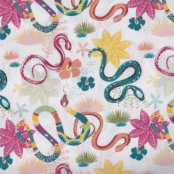 Coton bio kauai serpents blanc/vert
