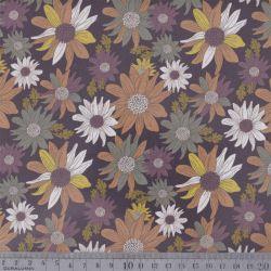 Coton bio igel fleurs multi brun