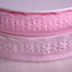 Dentelle élastique 25 mm rose pâle