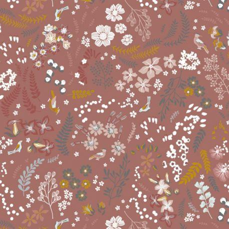 Popeline bio mix flowers dark dusty pink