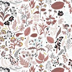 Popeline bio herb garden dark dusty pink