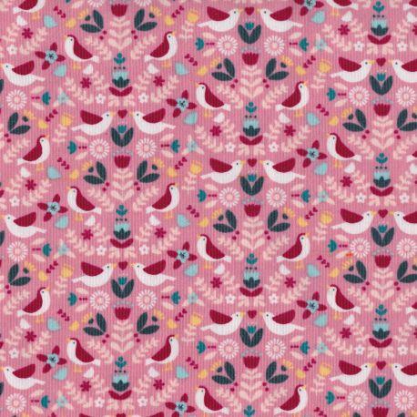 Velours milleraies bird world rose