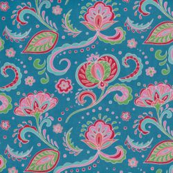 Jersey hispahan fleurs turquoise