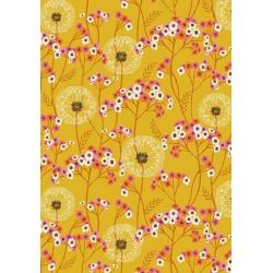 Coton aviary fleurs moutarde