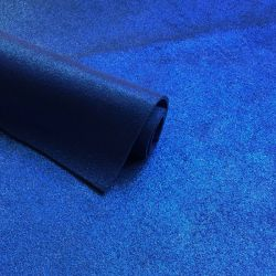 Croute de cuir bleu électrique pailleté