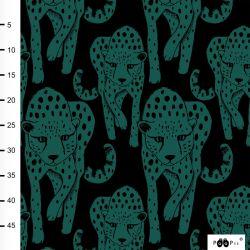 Jersey éponge bio cheetah vert foncé