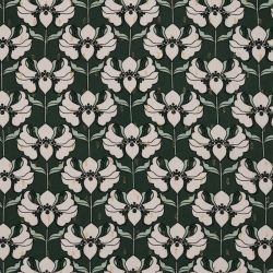 Viscose lurex fleurs vert foncé