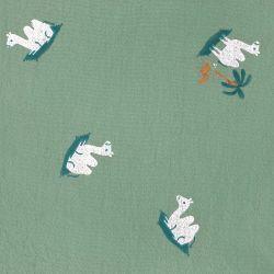 Rustic cotton imprimé carpet kaki