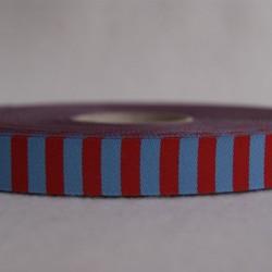 Ruban rayé  bleu/rouge