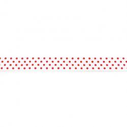 Biais élastique préplié à pois rouge/blanc-16mm
