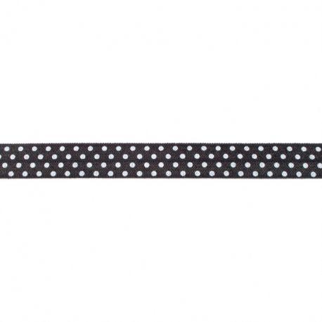Biais élastique préplié à pois noir-16mm