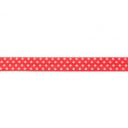Biais élastique préplié à pois rouge-16mm