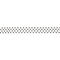 Biais élastique préplié à pois blanc-16mm