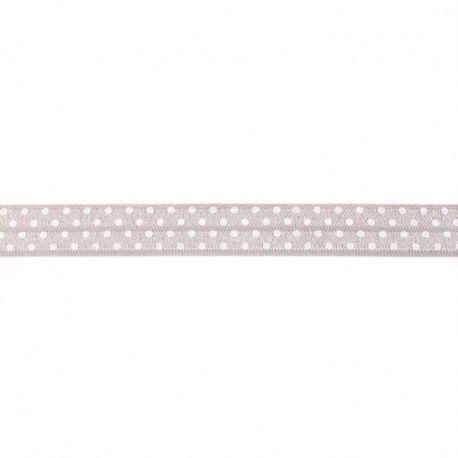 Biais élastique préplié à pois gris clair-16mm