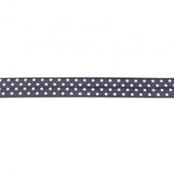 Biais élastique préplié à pois gris foncé-16mm