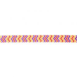 Biais élastique préplié zig-zag jaune/violet-15mm