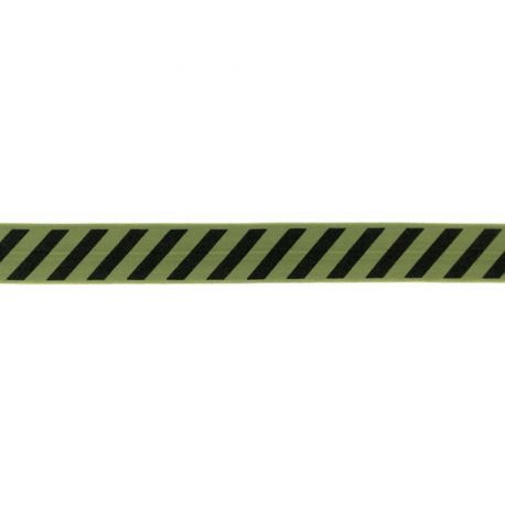 Biais élastique préplié diagonales noir/kaki-20mm