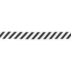 Biais élastique préplié diagonales noir/blanc-20mm