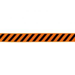 Biais élastique préplié diagonales noir/orange-20mm