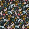 Velours milleraies flowers and birds anthracite