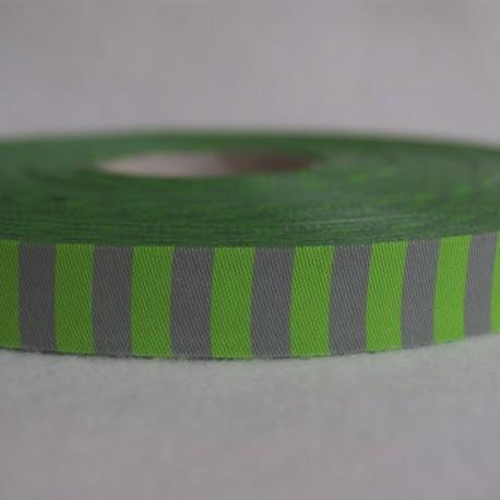 Ruban rayé  vert/gris