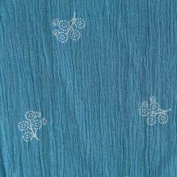 Coton crépon flowers bleu provençal