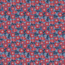 Coton bio flua bleu/rouge