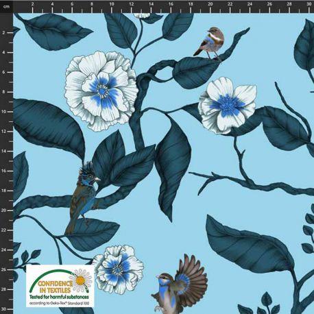 Jersey fleurs/oiseaux ciel