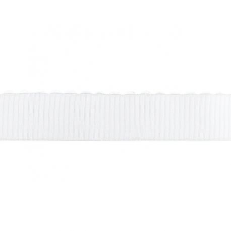 Élastique large côtelé festons blanc