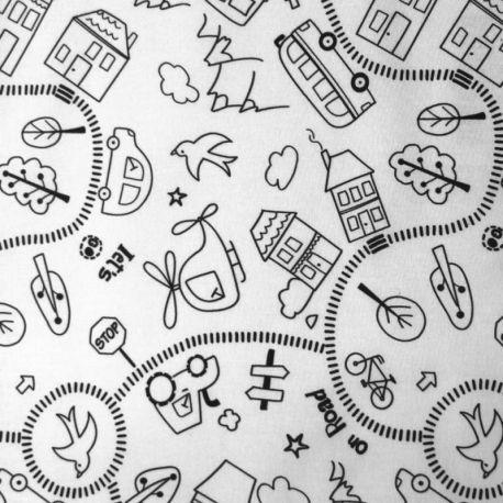 Coton à colorier route