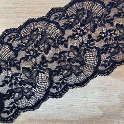 Dentelle de Calais 15 cm noire fleurs