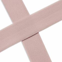 Biais élastique préplié mat rose poudré-20mm